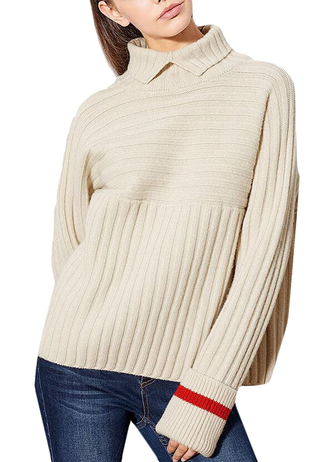 WANSHIYISHE Womens Simple Hit Color High Neck Knit Sweater