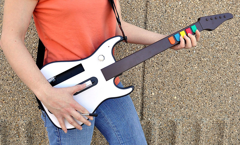 Nintendo Wii Rock Band 2 Video Game + 2 WIRELESS GUITARS Double Controller Bundle Set Kit