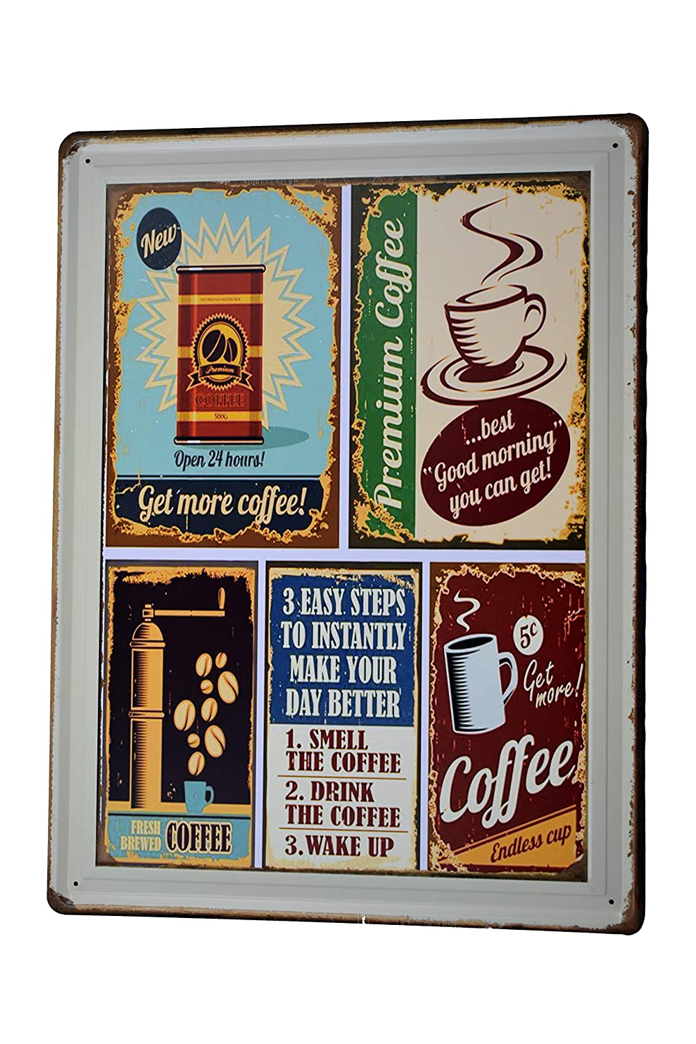Amazon.com: H&K Premium Coffee Retro Metal Tin Sign Posters Kitchen Café Diner Restaurant Wall Decor 12X16-Inch: Home & Kitchen
