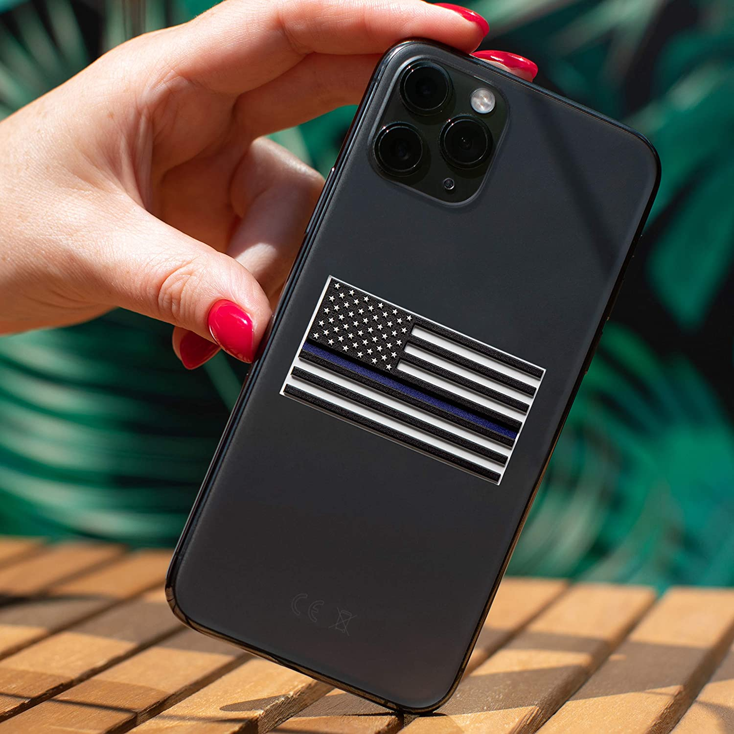 Thin Blue Line Flag Decal – 3D Premium Quality Thin Blue Line Stickers for Phone – 7 in Pack Support Police Flag Sticker 2 х 1.05 Inch Vinyl American Flag Decals Laptop – Raised Stars Stripes