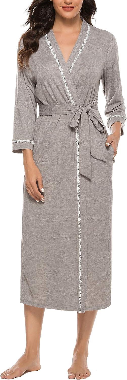 Vlazom Womens Dressing Gown Soft Kimono Robe V-Neck Pattern Trim Knit Bathrobe Nightwear for All Seasons S-XXL