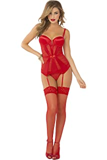 f9238f012 Seven  til Midnight Women s Geo Lace and Stretch Satin Gartered Bustier and  Thong