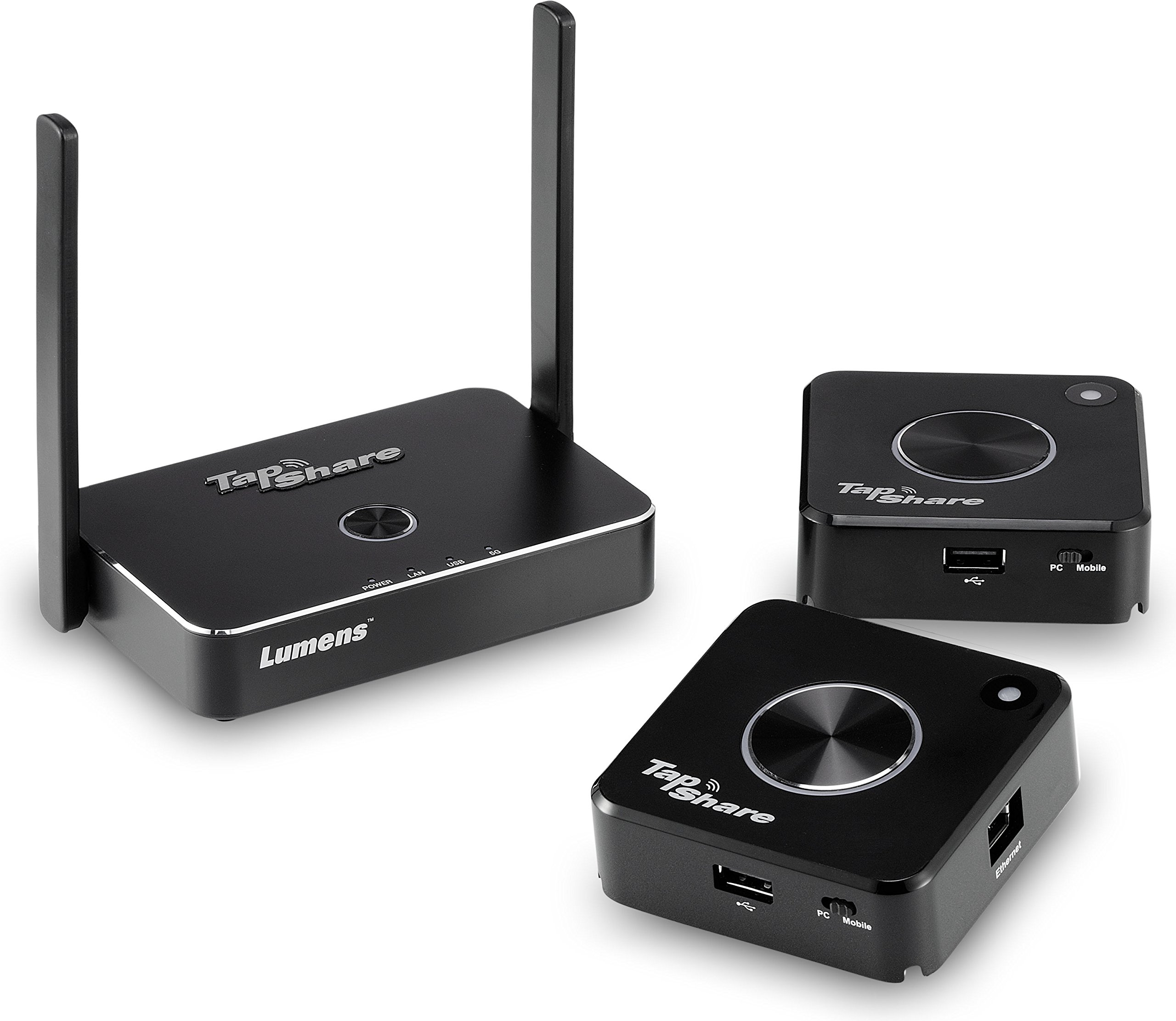 Lumens TS20-2T1R Model TS20 TapShare Wireless Presentation System Bundle, Bundle Includes 1 Tapshare Box and 2 Tapshare Pods, Multi-Interface Supports HDMI, Display Port, USB, and IP by TapShare (Image #1)