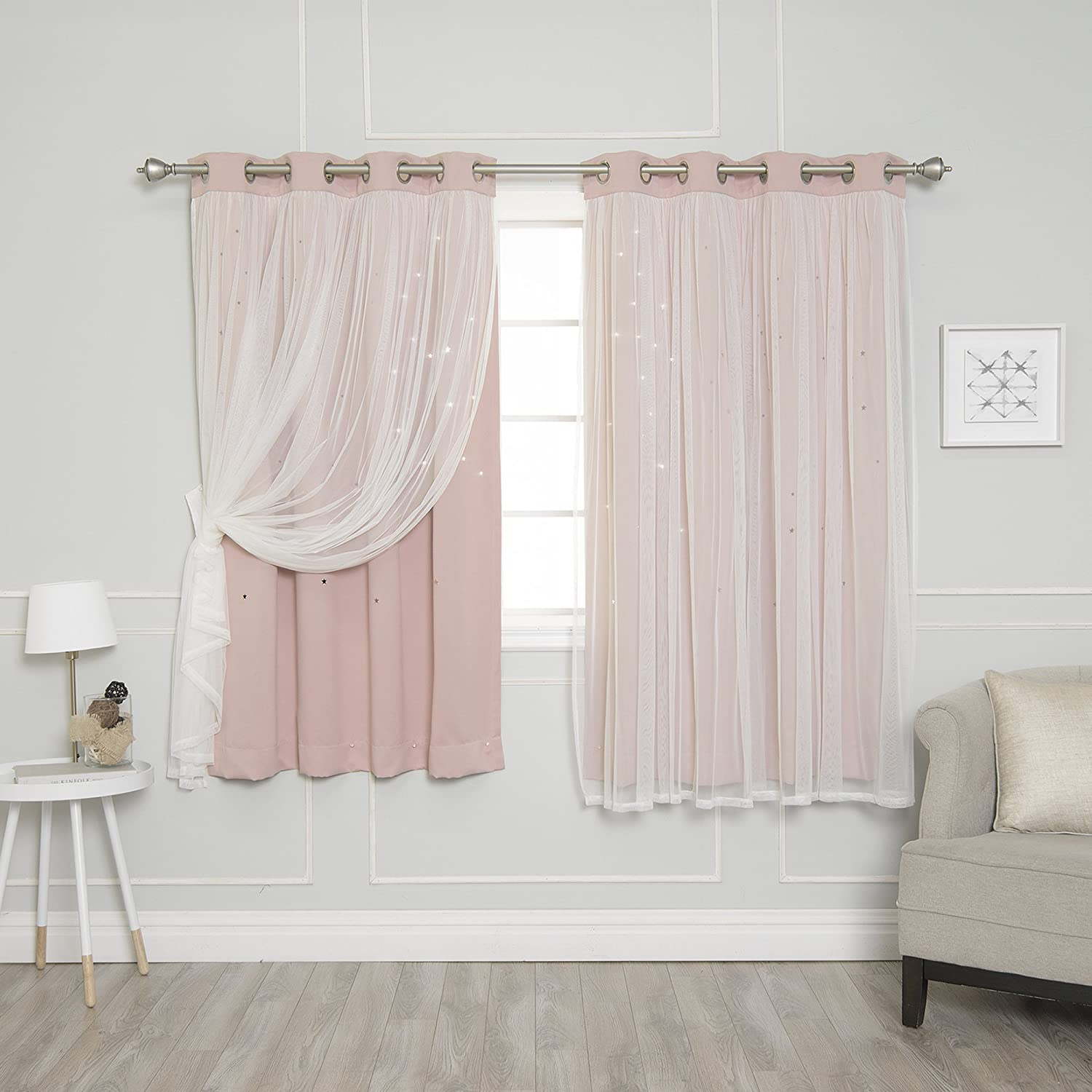 """Best Home Fashion Tulle Overlay Star Cut Out Blackout Curtains - Stainless Steel Grommet Top - Dusty Pink - 52"""" W x 63"""" L (Set of 2 Panels)"""