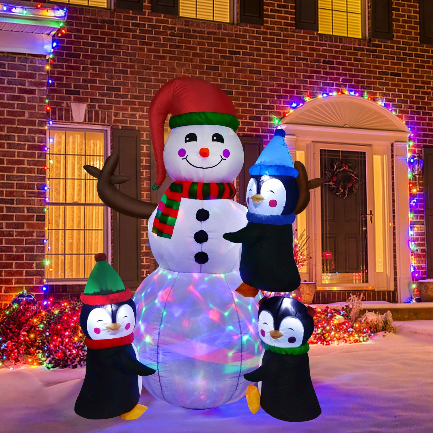 Artiflr 6Ft Lighted Christmas Inflatable Snowman with Three Cute Penguins, Building Color LED Lights Outdoor Indoor Holiday Decorations Blow up Yard Giant Lawn Inflatables Home Decor