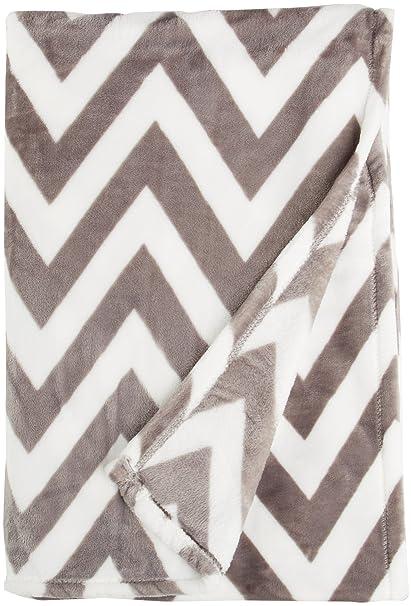 Amazon Northpoint Ruya Oversized Printed Velvet Plush Throw Gorgeous Grey And White Chevron Throw Blanket