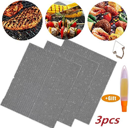 Barbecue And Oven Mesh Reusable Heat Resistant Bbq Teflon Grill Mats For Grilling Cooking Easy To Clean 3 Pcs + Brush Nifogo BBQ Grill Mesh Mat Baking