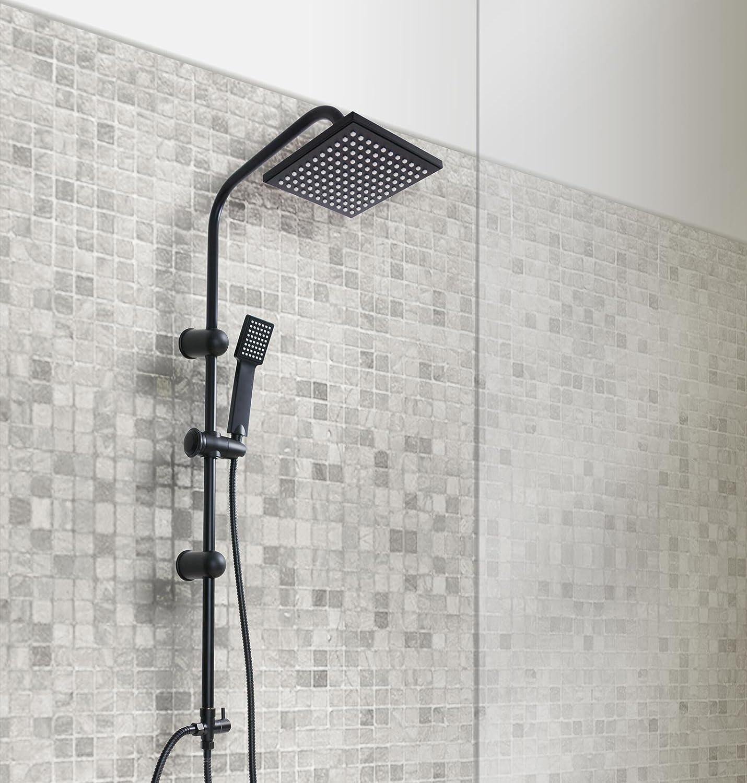 grafner® Negro Panel de ducha con regenschauerdusch cabeza y mano ...