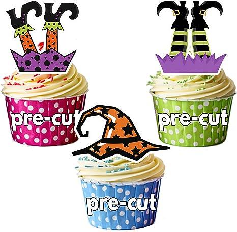 Precortado Juego Halloween brujas piernas y sombreros de fiesta decoración comestible cupcake/decoración para tarta ...