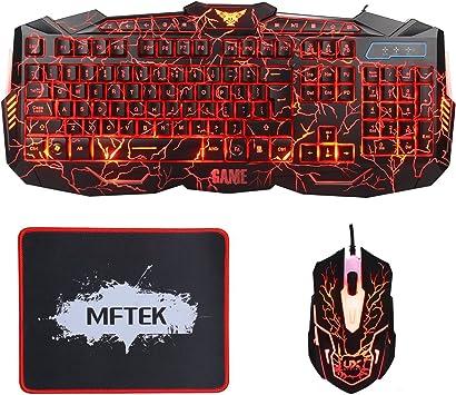 MFTEK - Teclado (retroiluminada, 3 Colores, LED, USB - Kit con ratón y Alfombrilla), Color Negro: Amazon.es: Informática