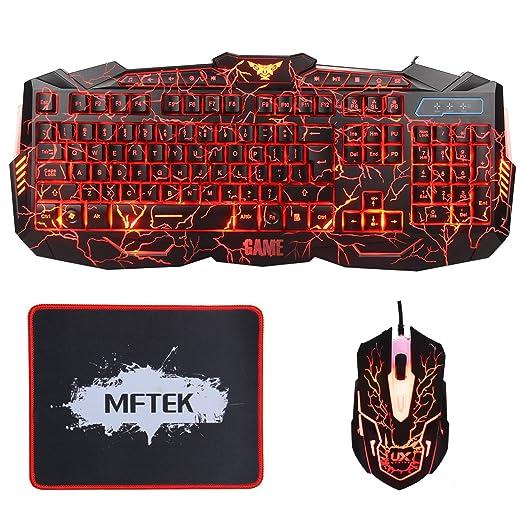 36 opinioni per Tastiera da gioco e Mouse Set- MFTEK USB a filo retroilluminato a LED luminoso