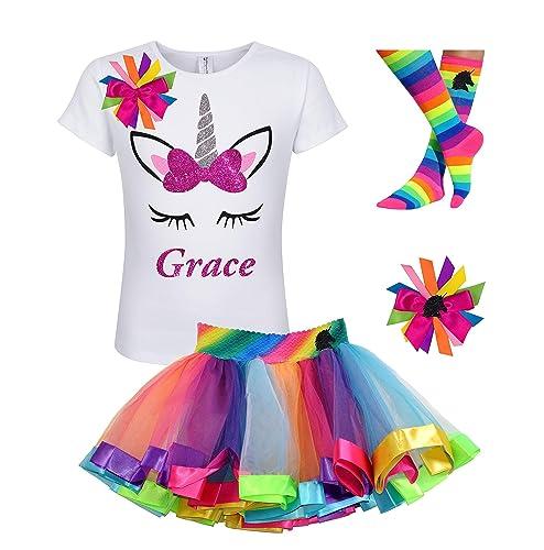 721af4e07c Amazon.com: Custom Unicorn Shirt Rainbow Tutu Outfit Girls Birthday Pink  4PC Gift Set Personalized Name: Handmade