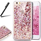 5S Case,iPhone 5 Case,iPhone SE Case,SKYMARS 3D Creative Flowing Liquid Floating Luxury Bling Glitter Sparkle Hard Case Cover for iPhone 5 / 5S / SE Diamonds Red
