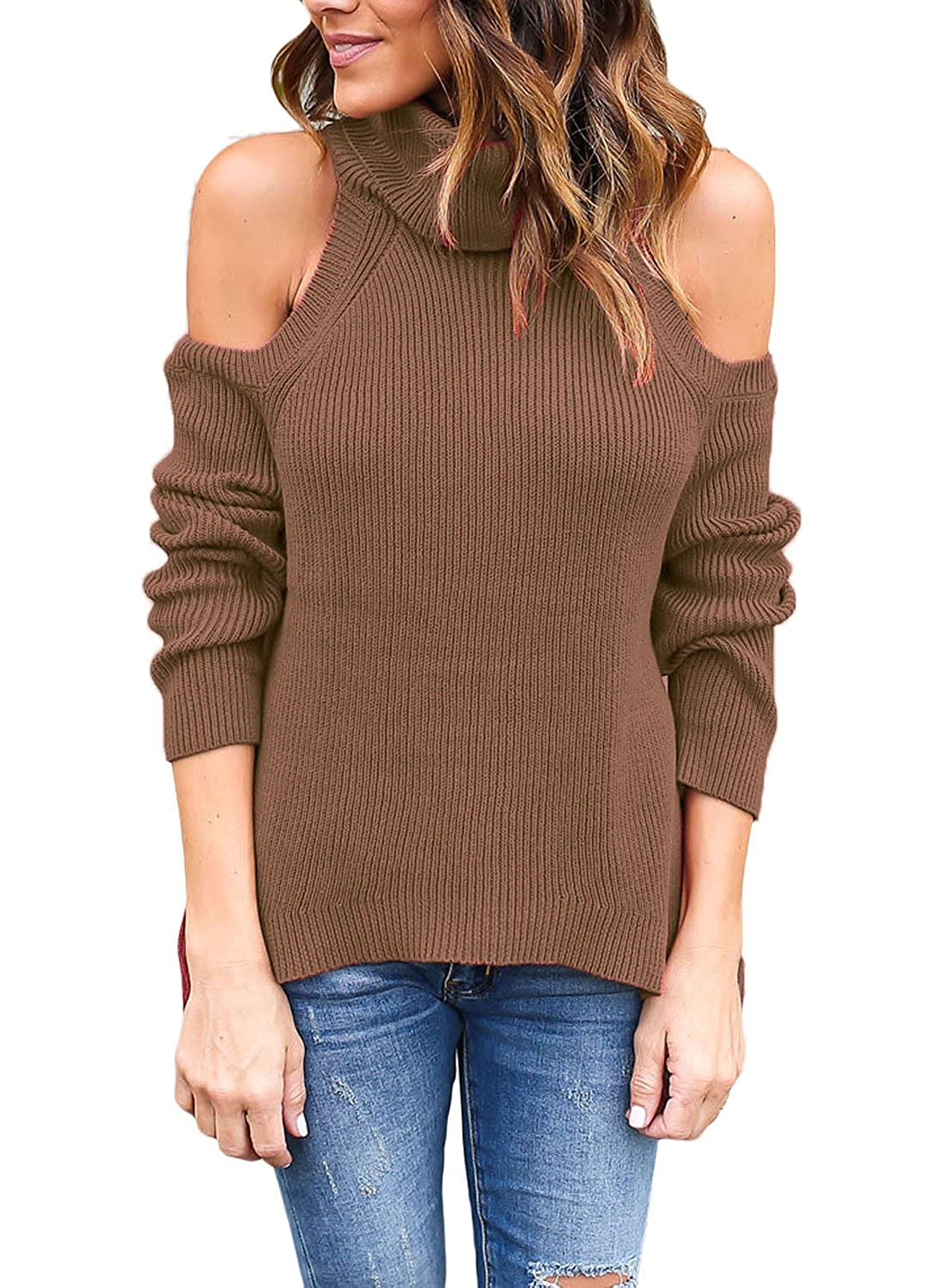 Dearlovers Women High Neck Cold Open Shoulder Loose Knitted Pullover Sweater Top