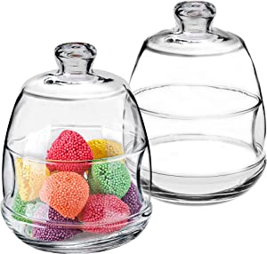 Glass Dessert Cup Set of 2, Sugar Bowl, Butter Dish with Cover, Food Container with Lid, Glass Jar, Decorative Candy Buffet, 8 ½ oz, Lead Free European Glass