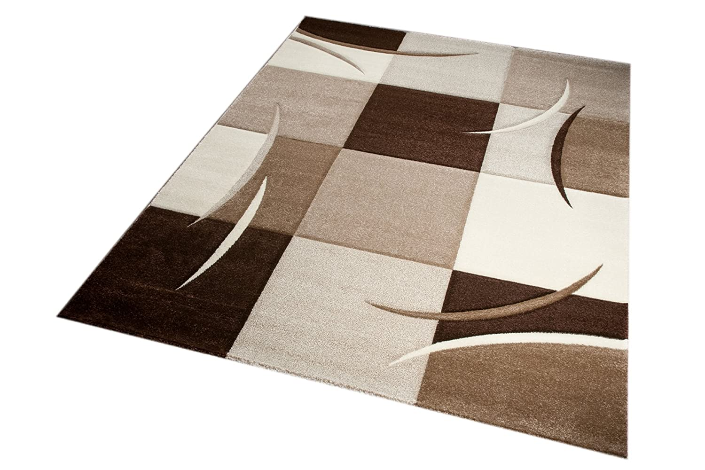 Designer Designer Designer Teppich Moderner Teppich Wohnzimmer Teppich Kurzflor Teppich mit Konturenschnitt Karo Muster Braun Beige Mocca Größe 120x170 cm B01ERX6A2M Teppiche 619e5d