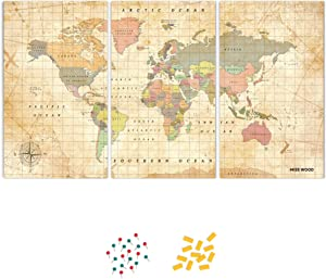 Push Pin Travel Map Kit Includes: Cork World Travel Map, World Flags, Food Stickers, for Travelers (Old School, Puzzle M Standard)