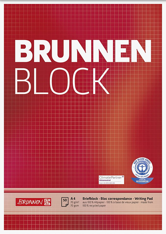 Brunnen 1052528 Schulblock//Notizblock A4, 50 Blatt, kariert, mit Randlinien, Lineatur 28, gelocht, kopfverleimt, 70 g//m/² 10