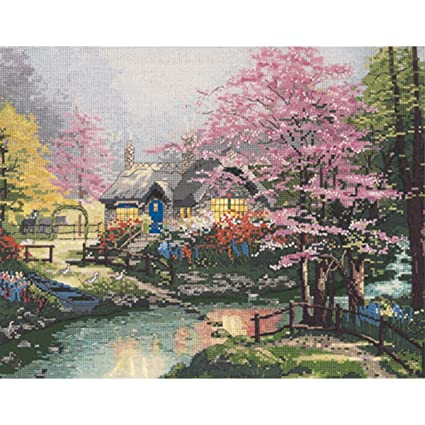 M C G Textiles Thomas Kinkade Stepping Stone Cottage Counted Cross