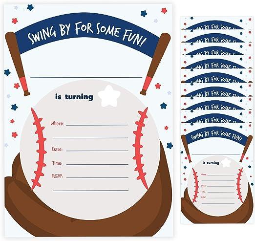Seal Party Baseball 1 Happy Birthday Invitations Invite 25ct w Envelopes