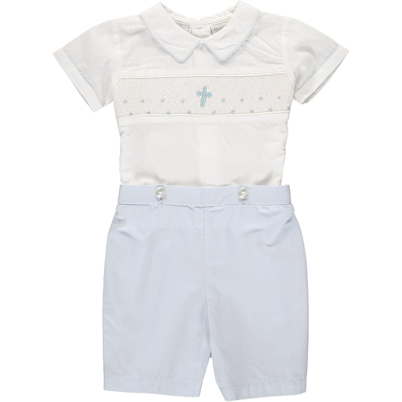 Baby Boys Hand Smocked Christening//Baptism Blue Cross Bobbie Suit White//Blue