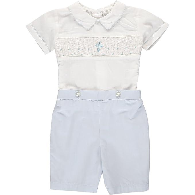 Amazon.com: Bebé Niños Mano Smocked bautizo/bautismo Azul ...