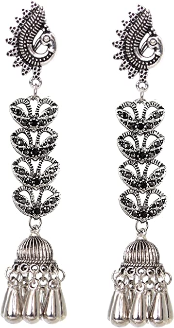 Sansar India Oxidized Coins Tassel Pendant Long Indian Necklace Jewellery for Girls and Women