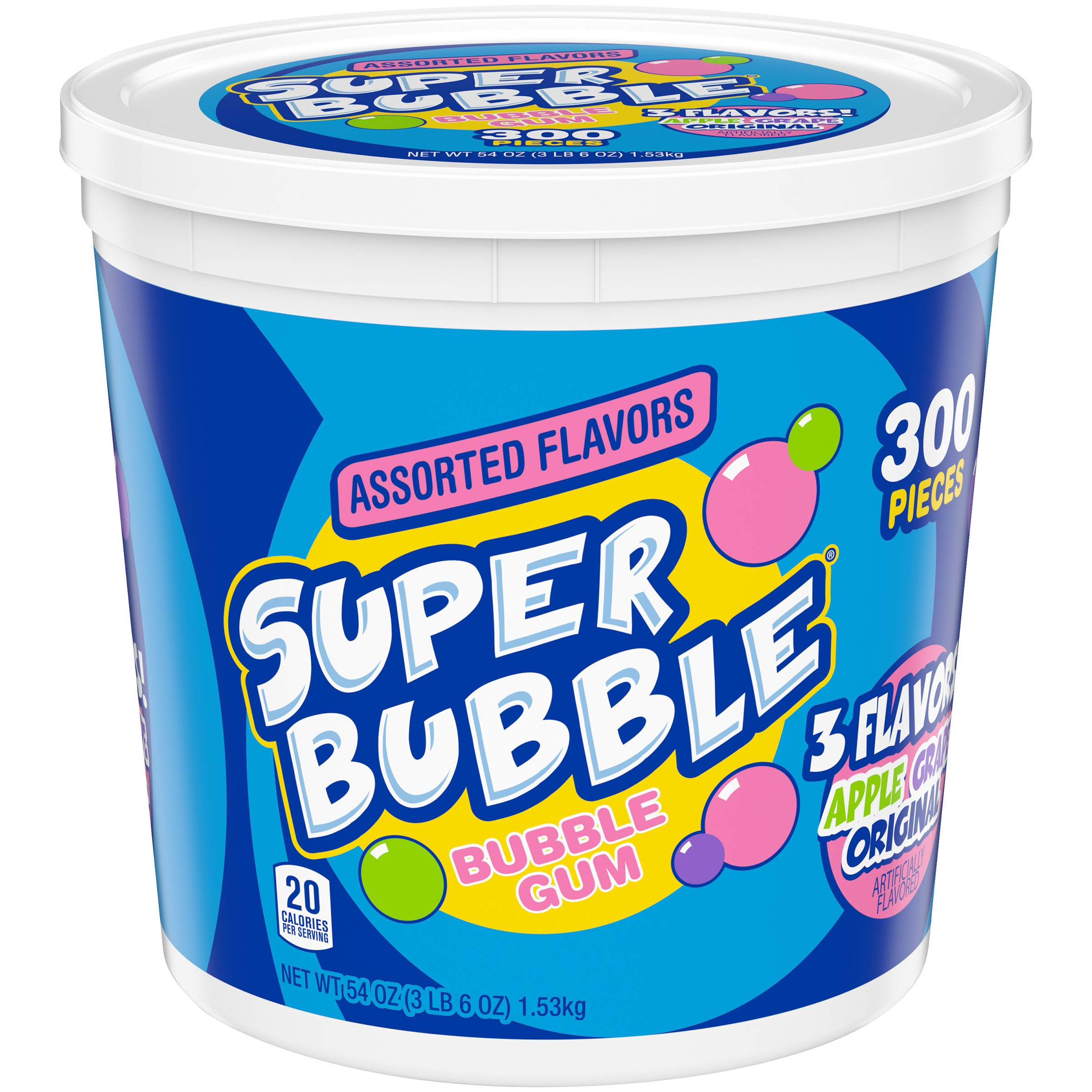 Super Bubble Gum, Assorted, 54 Ounce Tub