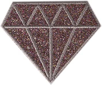 Embroidered Glitter Sparkle Silver Diamond Gem Applique Patch Iron On Sew On USA