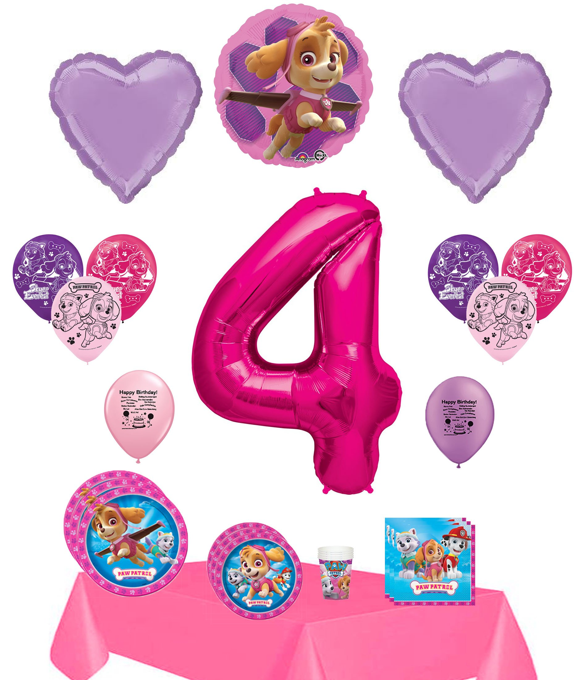 Product Overview Skye Happy 4th Birthday Party Supply And Balloon