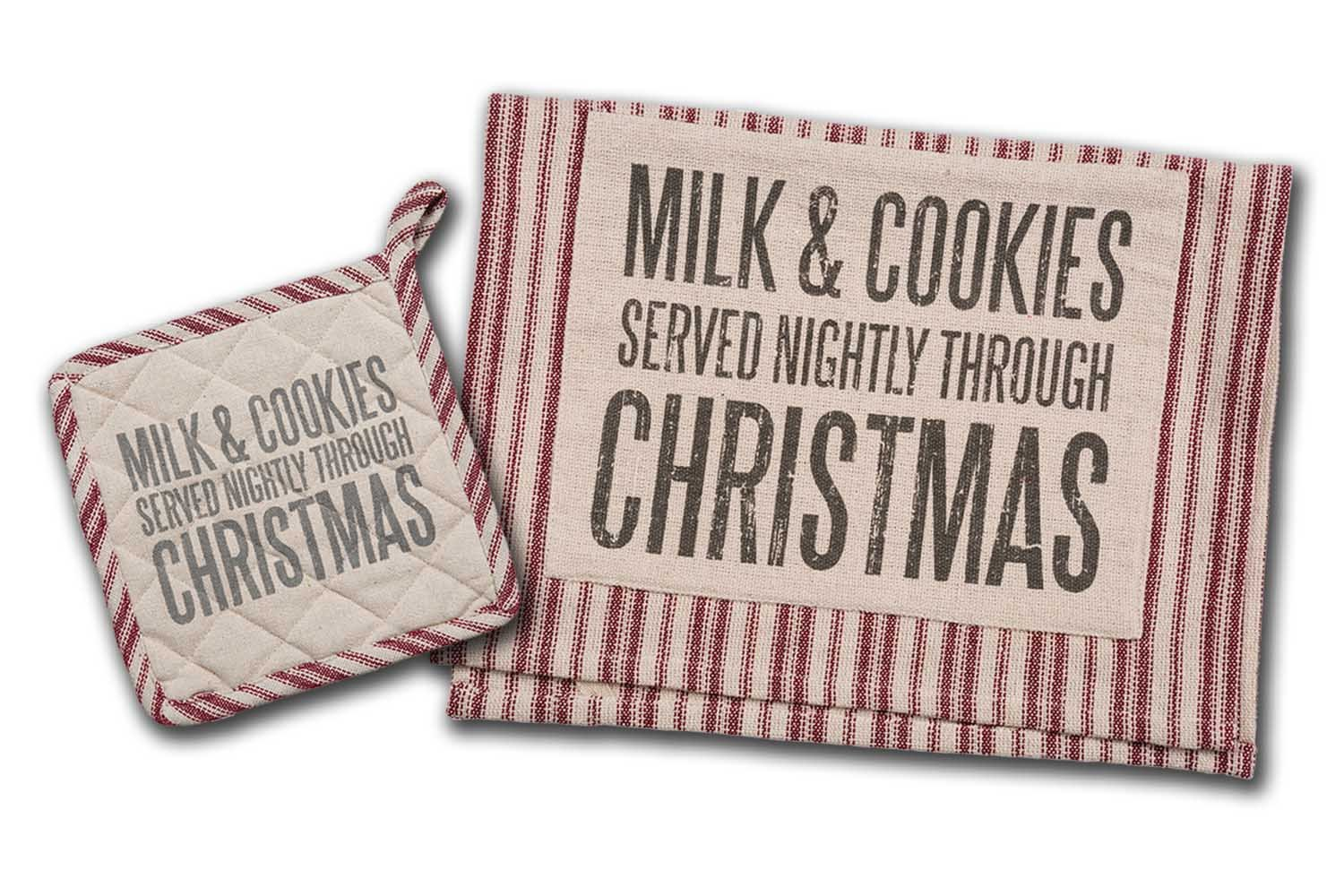 PBK Christmas Theme Gift Sets - Potholder and Dish Towel Milk & Cookie Served Nightly Through Christmas