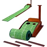 GLOTOP Golf Putting Green Mat with Wood Auto Ball Return System, Game Practice Golf Gifts for Home, Office, Backyard Indoor G