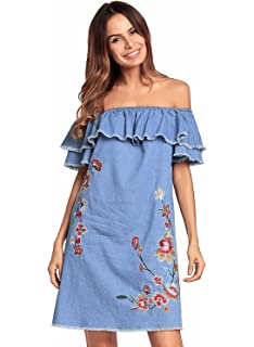 071bf0f355 Womens Ruffled Sexy Off Shoulder Embroidery Denim Casual Loose Mini Dress