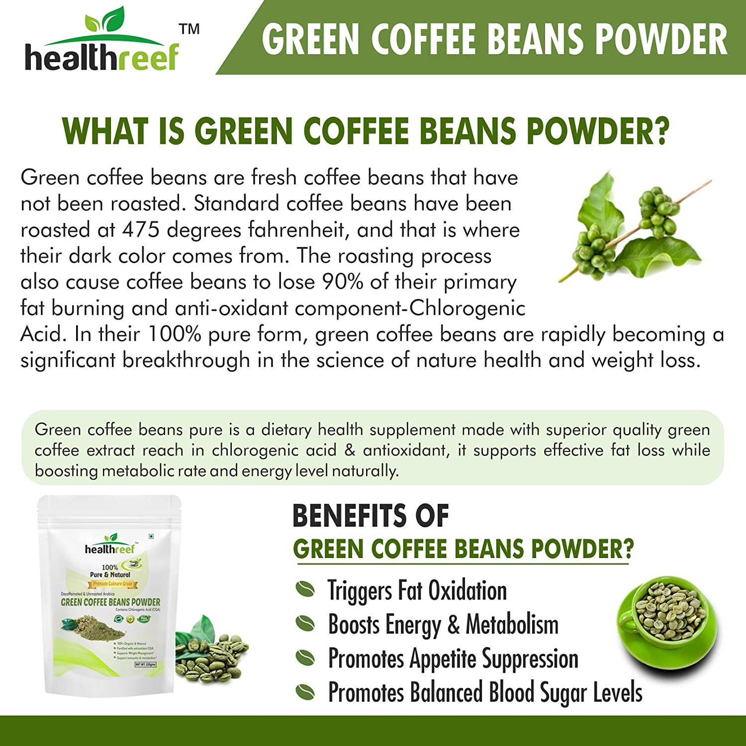 Healthreef Green Coffee Beans Powder For Weight Loss 225 Gm