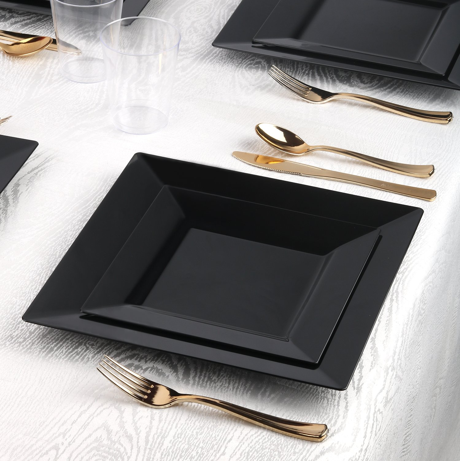 Kaya Collection - Black Plastic Square 10.75'' Dinner Plates - Disposable or Reusable - 1 Case (120 Plates) by Kaya Collection (Image #2)