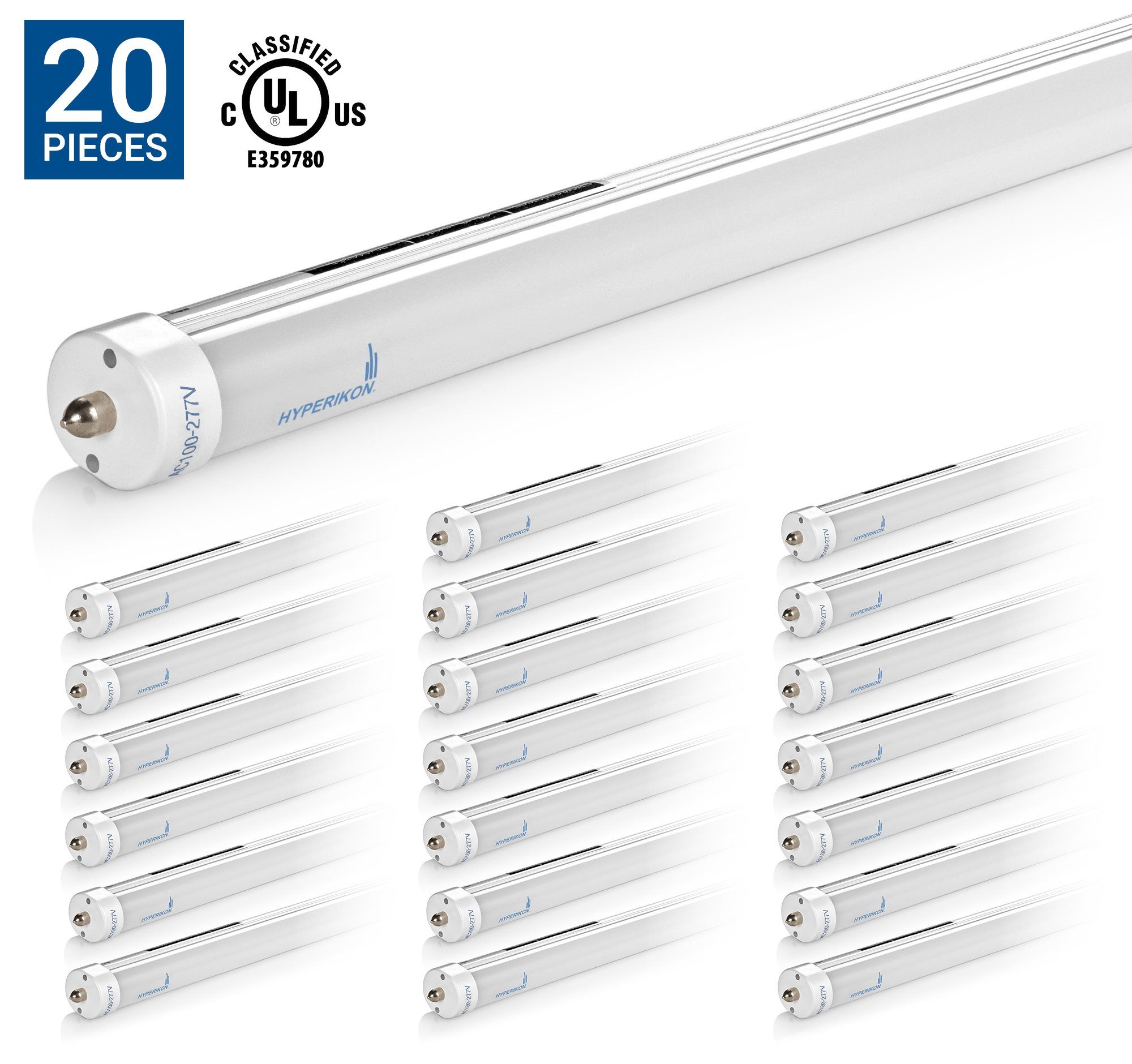 HyperSelect T8 T12 LED Light Tube 8ft, 36W (75W equivalent), 3800 Lumen, 5000K (Crystal White Glow), UL, Frosted Cover, Dual-Ended Power, Fluorescent Replacement, (Pack of 20)