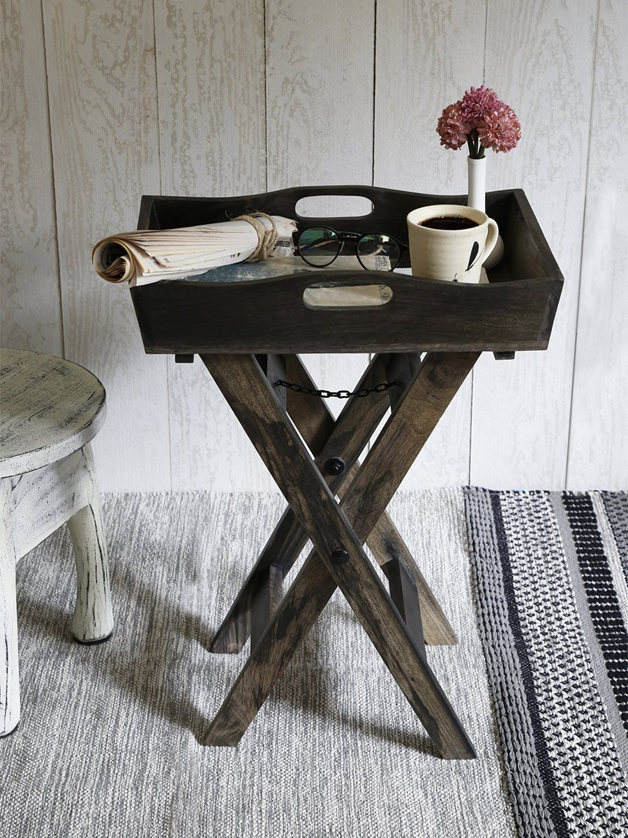 Store Indya Wooden Butlers Table TV Trays 18 Inch Rustic for Kitchen Home Indoor and Outdoor Use Home Kitchen Dining Serve ware