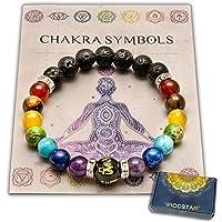WICCSTAR Pulsera Doble de 7 Chakras Joyas curativas de Christal