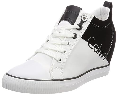 Calvin Klein Jeans Rory Nylon/Flocking, Zapatillas Altas para Mujer, Blanco (WBA 000), 41 EU: Amazon.es: Zapatos y complementos