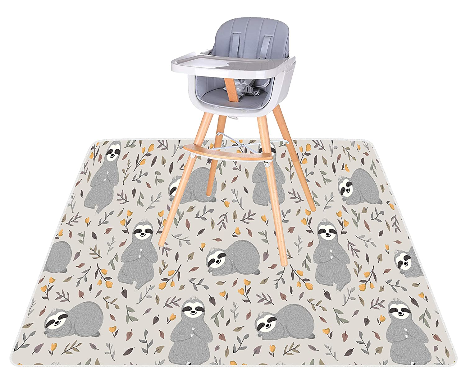 """BABYBOET Splat Mat for Baby – Under High Chair Floor Mat Protects Wood, Vinyl and Carpet from Spills – Waterproof Triple Layer Baby Mat with Anti-Skid Backing Deters Bunching and Sliding (51"""" x 51"""")"""