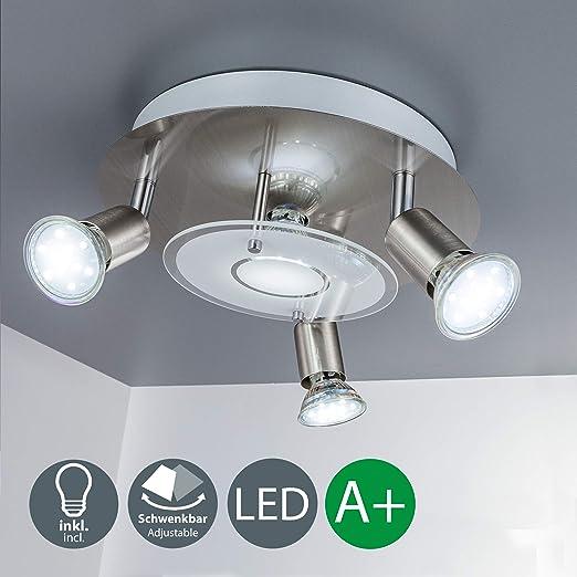 Lámpara de techo LED incl. 4x3 W bombillas LED, Focos giratorios GU10, luz