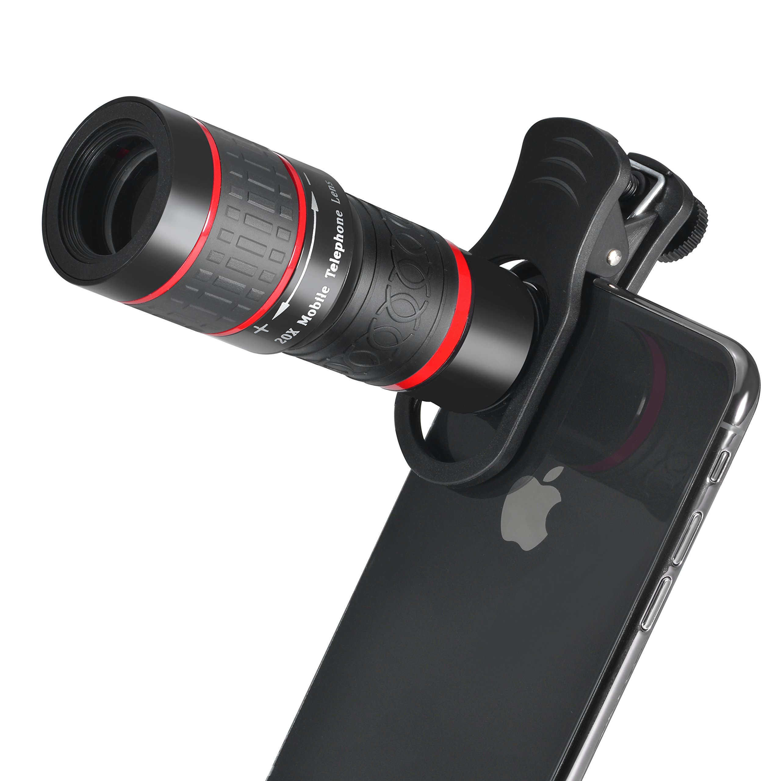 High Stability Clip-on 20X Telephoto Lens, MY MIRACLE Cell Phone Telescope Lens Manual Control for iPhoneX 8, 7, 6, 6s plus Samsung Galaxy,Android and Most Smartphones