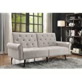 Futon Sofa Bed,Convertible Sleeper Couch, Fabric Reclining Sofa with Armrest Wood Legs for Compact Small Space, Apartment and