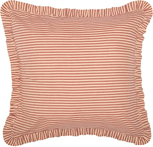 SAWYER MILL RED TICKING STRIPE QUILT choose size /& accessories-Farmhouse Bedding