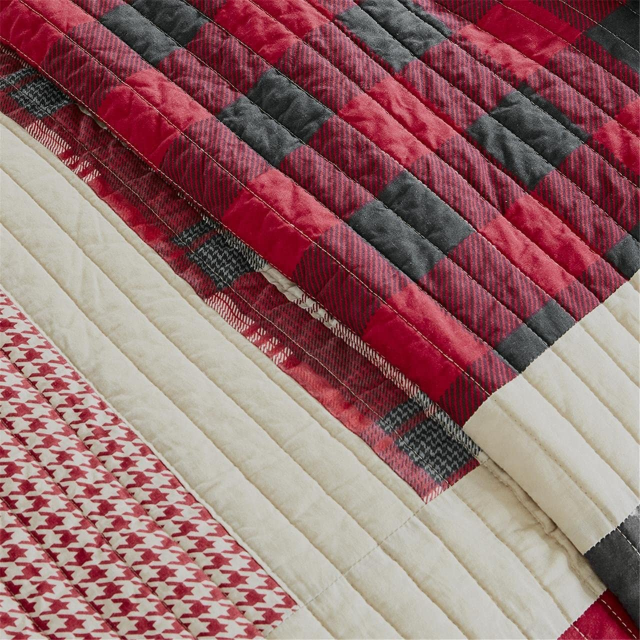 "Woolrich Huntington Quilt Mini Set Full/Queen (92""x96""), Plaid Red"