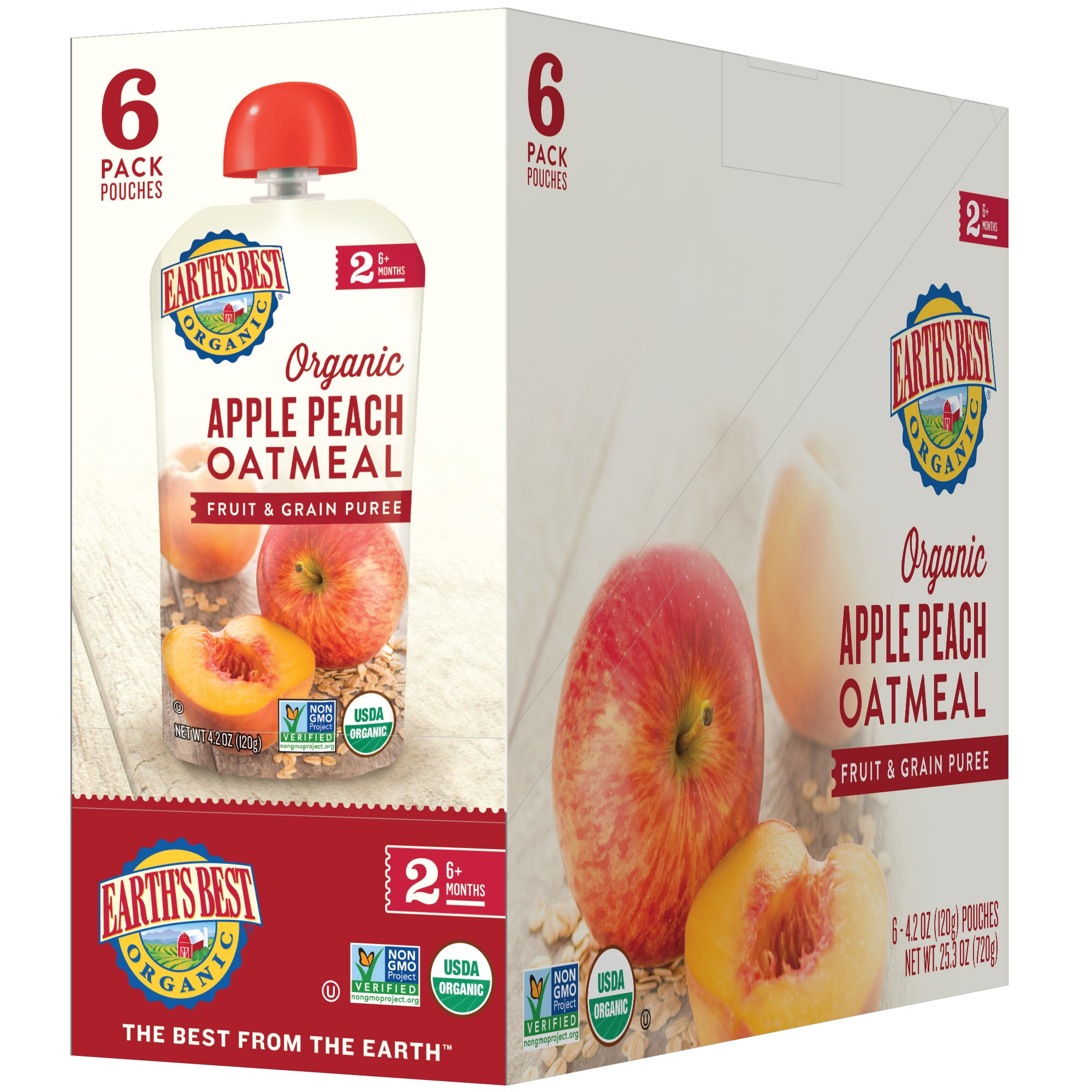 Earth's Best Organic Stage 2 Baby Food, Apple Peach and Oatmeal, 4.2 oz. Pouch (Pack of 12) by Earth's Best