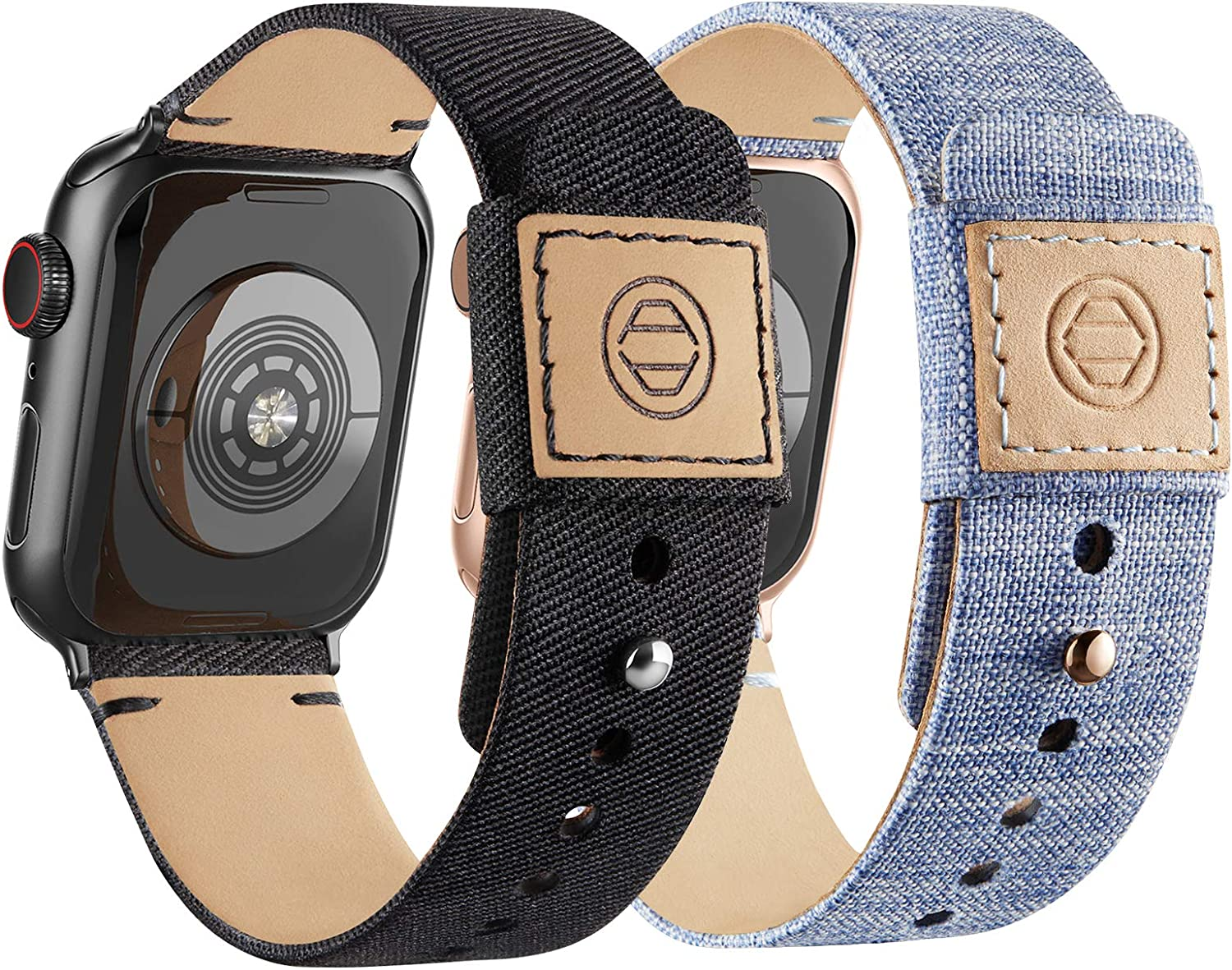 Compatible with Apple Watch Bands 38mm 40mm, Soft Cloth Fabric iWatch Bands Women Men Canvas with Genuine Leather Lining and Snap Button Straps for Apple Watch Series 6/5/4/3/2/1/SE, Black, Lightblue