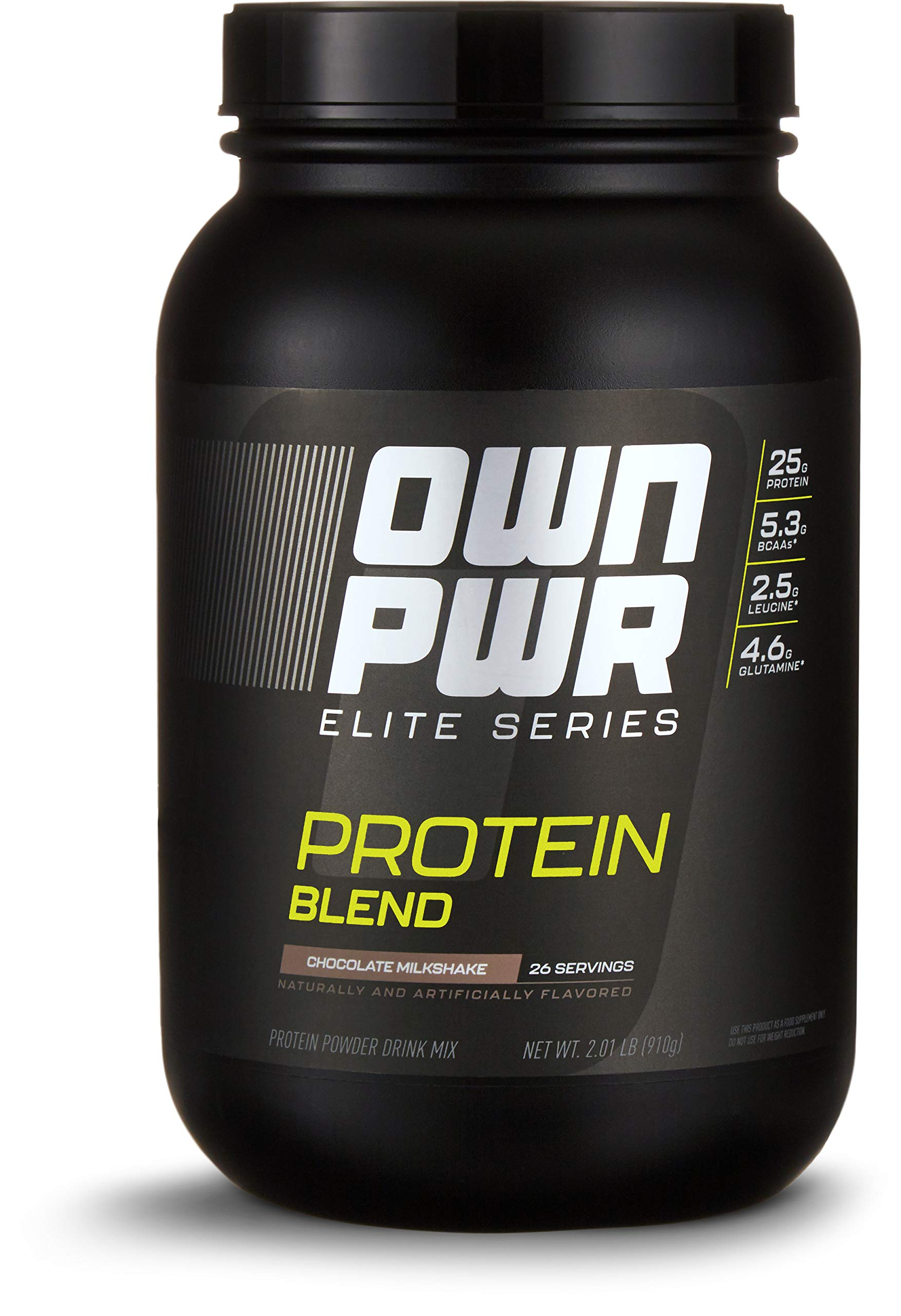 Amazon Brand - OWN PWR Elite Series Protein Powder, Chocolate Milkshake, 2 lb, Protein Blend (Whey Isolate, Milk Isolate, Micellar Casein)