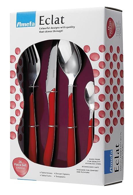 Amazon.com: Amefa Eclat Rojo cubiertes Set (16 piezas ...