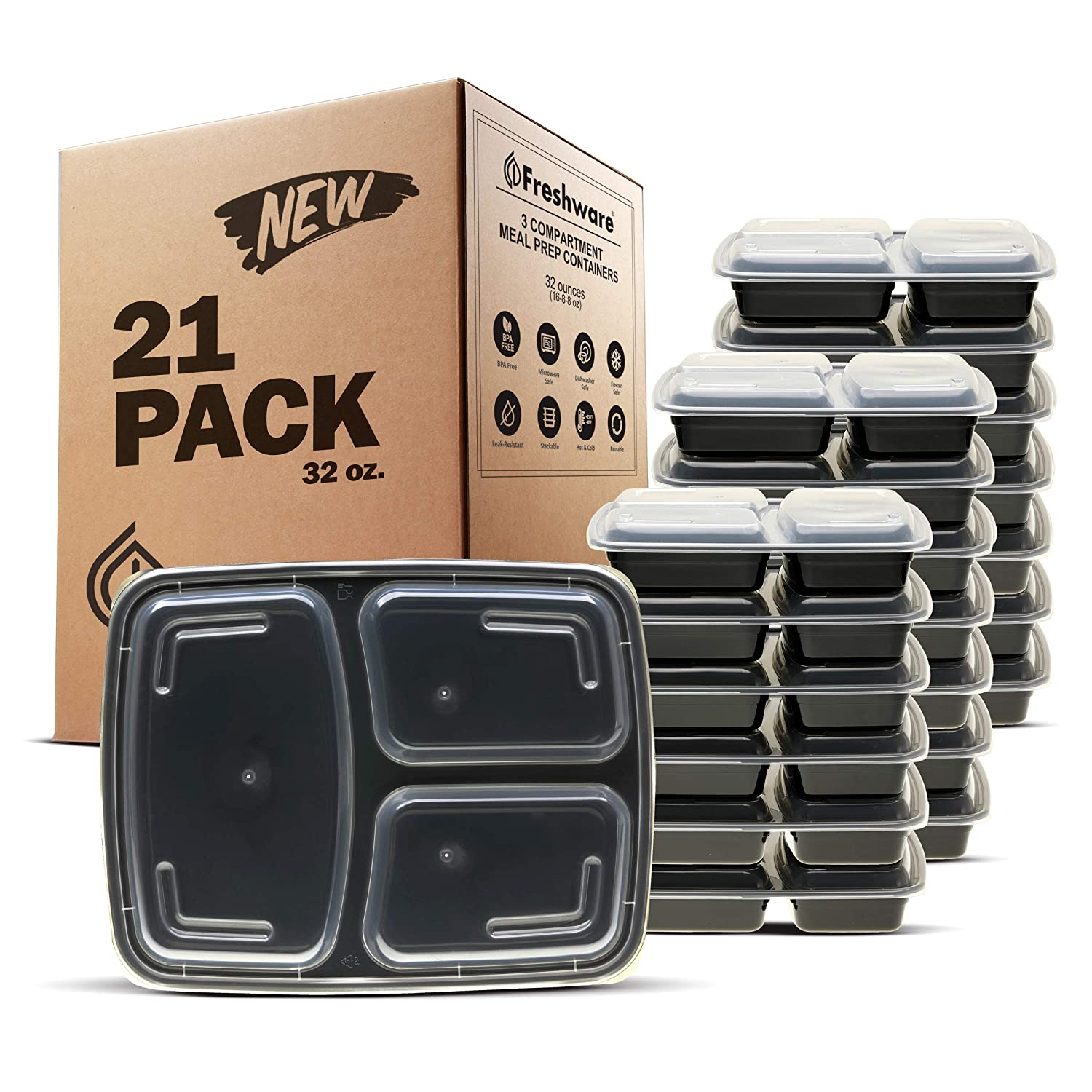 Freshware Meal Prep Containers [21 Pack] 3 Compartment with Lids, Food Storage Containers, Bento Box | BPA Free | Stackable | Microwave/Dishwasher/Freezer Safe, Portion Control, 21 Day Fix (32 oz)